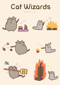 Pusheen The Cat - Cat Wizards Pusheen Harry Potter, Pusheen Stormy, Et Wallpaper, Pusheen Love, Image Chat, Nyan Cat, Grumpy Cat, Crazy Cats, Cat Art