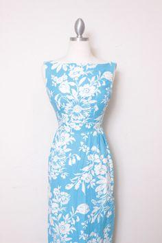 Vintage Handmade Hawaiian Print Turquoise Blue Long by thejunkhaus
