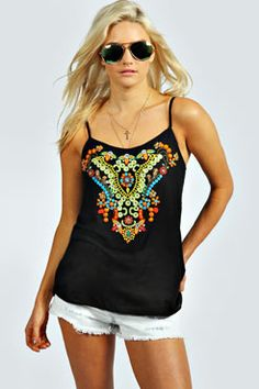 Cleo Ethnic Embroidered Mirror Sequin Cami at boohoo.com