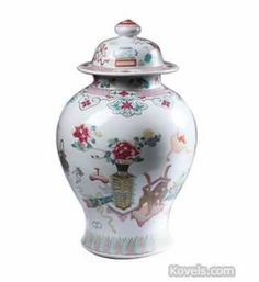 Chinese Export Famille Rose,Flowers,Buddhist Symbols,19th Century,17 In. Jar