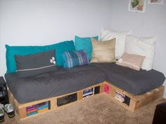 """This is the only """"real looking"""" couch I've seen. Large white pillows look stiff for back support, and it is up against the wall. Sheet-like covers don't look good--will need to spring for some nicer fabric."""