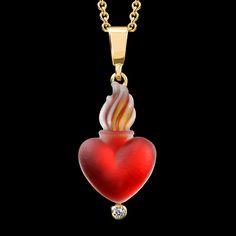 Flaminh Heart pendant by Matt Bezak. Cast glass, 14k yellow gold, diamond.