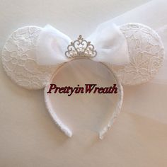 Bride inspired Mickey Mouse ears headband. These ears are ideal for you brides to be or newlywed to wear to disney parks. Ears are durable and