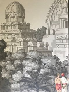 Panoramic handpainted wallpaper: Early Views of India custom size available Stairway Walls, Scenic Wallpaper, Hand Painted Wallpaper, Wall Spaces, India, Etsy, History, Artwork, Artist
