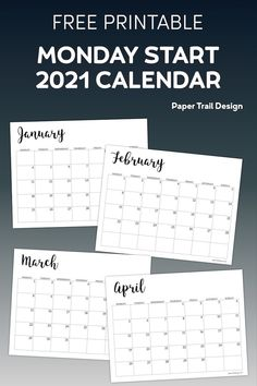 Basic 2021 Monday start calendar to print for free. Use this calendar to stay organized at home, school, or in the office. #papertraildesign #2021calendar #2021 #2021mondaystartcalendar #free2021calendar #calendars #2021calendars At A Glance Calendar, 2021 Calendar, Print Calendar, Free Printable Calendar Templates, Printable Wall Art, Free Printables, Holiday Activities, Classroom Activities, Activities For Kids