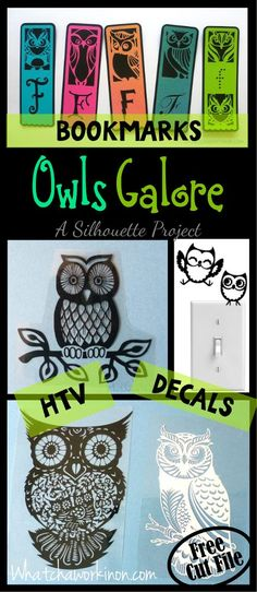 Owls, owls, owls! Free Silhouette cut file for owl bookmarks, plus htv owls, lightswitch owls, and permanent adhesive owls. ~ Whatchaworkinon.com