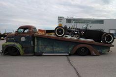 F1 Ford COE roll off/car hauler slammed and chopped.