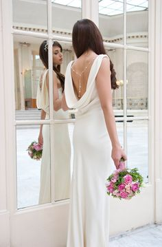 simple draped backless wedding gowns | josephine dress a draped cowl neck backless dress made from