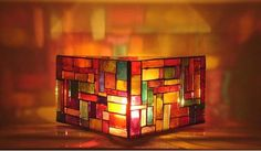 Triangular candle lamp by Lucano Mosaico.