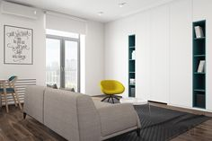 living-room-teal-bookshelves-yellow-chair.jpg 1.200×800 pixel