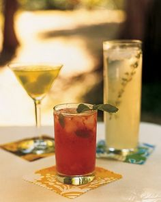 a thyme-vodka lemonade; a puree of strawberries, rum, and ginger; and a seltzer-honeydew sparkler with Midori.