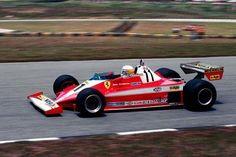 """Jody Scheckter driving the sublime Ferrari at the 1979 Brazilian Grand Prix, held at Interlagos. F1 Racing, Drag Racing, Jody Scheckter, Brazilian Grand Prix, Unusual Hotels, Gilles Villeneuve, Classic Motors, Porsche Classic, Ferrari F1"