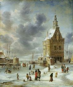 Jan Abrahamsz. Beerstraten (1622-1666) - IJsvermaak bij de Hoofdtoren van Hoorn