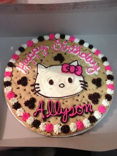 "Hello Kitty on a sugar free 14"" cookie cake"