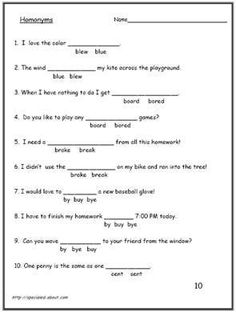Homonyms - Homophone Worksheets