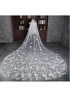 Buy discount In Stock Luxurious Tulle Cathedral Wedding Veil With Lace Appliques at Dressilyme.com