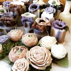 bougie fleur — 先日アップしたキャンドルパーツを組み立てたウェディングパーティ用の作品たちです。...