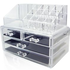 GoldenFairs Acrylic Organizer for Cosmetic Makeup, Jewelry & Crafts. Clear Two Piece Design Set Display Storage Box Drawer Case