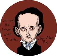 Edgar Allan Poe Button on Etsy