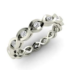 Round SI Diamond  Wedding bands Ring in 14k White Gold