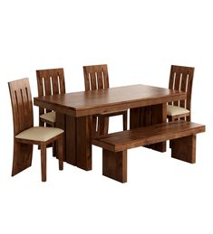 """Buy Delmonte Solid Wood Six Seater Dining Set with Bench in Walnut Finish by @home Online - Contemporary 6 Seater Dining Sets - Dining - Furniture - Pepperfry Product """