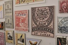 Vintage postage stamps - scanned, enlarged, printed on canvas, mounted on wood frames.  GENIUS!  I picture one from each country I've visited.... and adding to the collection on a regular basis :-)