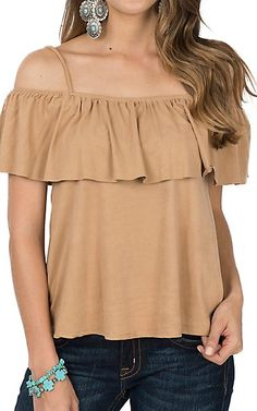 Panhandle Women's Suede Off The Shoulder Fashion Shirt   Cavender's