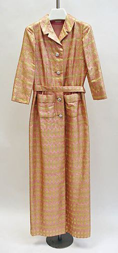 Evening dress  Mainbocher (American, 1890–1976)  Date: late 1960s Culture: American Medium: silk, lurex