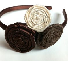 Girl's Headband with Chocolate Brown and Cream Rosettes. $12.00, via Etsy.