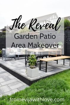 Garden Patio Area makeover, custom built black wooden privacy screen, grey slabbed area. Privacy Fence Screen, Fence Screening, Garden Slabs, Black Metal Chairs, Fence Lighting, Amazing Spaces, Diy Patio, Modern Spaces, Dining Table Chairs