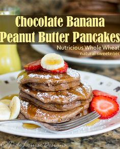 Banana Chocolate Peanut Butter Pancakes Recipe to have an easy and nutritious breakfast!