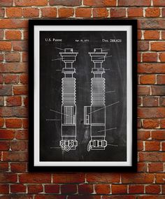 Star Wars Lightsaber - Action Figure Toy - Patent Print Poster Wall Decor - 0057    Hang a piece of history in your Home, Office, Man Cave or