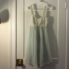 Vintage baby doll lace nightie Light teal with white lace night gown. Can provide measurements, it fits me and I typically wear a size 6-8 Vintage Intimates & Sleepwear Chemises & Slips