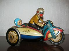Tin Motorcycle w Sidecar Toy Wind Up | eBay