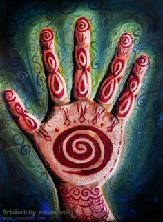 Reiki Hand ~ Artwork by Renee Keith Acrylic + Oil Painting
