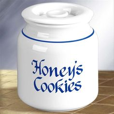 Personalized Classic Blue and White Ceramic Cookie Jar. Classic cobalt blue & white calligraphy can't say it any better. Commemorate your favorite cookie baker with a fun monogram like Karen's Homemade Cookies, Bobbie's Store Bought Cookies or Charlie's Cookies. The silicone seal keeps cookies just baked fresh until the last crumb. Safe for the dishwasher as long as you carefully remove the silicone gasket before loading into the dishwasher.