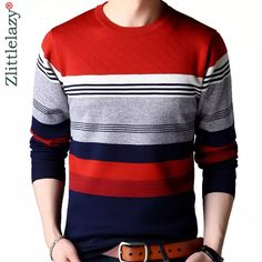2019 brand casual autumn winter warm pullover knitted striped sweater man v … … – Knitting News Mens Winter Sweaters, Mens Fashion Sweaters, Mens Fashion Suits, Sweater Fashion, Mens Striped Sweater, Men Sweater, Polo T Shirt Design, Stylish Mens Outfits, Polo T Shirts