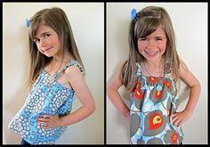 reversible sun top  I have both of these fabrics... Grace will be wearing one of these this summer. :)