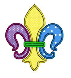 Fleur de lis applique design in 3 sizes. Mardi gras by jazziest