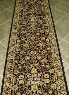 "AMZ183 - Rug Depot Traditional Oriental Hall Runner Remnant - 26"" x 9'4 - Black Background - Concord Global Persian Classic 2103 Black - Hallway Runner ON SALE - FREE Serging Applied on Ends - Rug Runner is Machine-Made of 100% Polypropelene - Custom Hall Runners with Matching Area Rugs by Rug Depot. $117.00. Accents - Burgundy, Green, Gold, Ivory. Background Color - Black. Border - Black. For Custom Stair or Hall Runners, call Customer Service at 800-733-4784.. Construction ..."