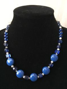 Blue beaded necklace from my Etsy shop https://www.etsy.com/listing/488895266/blue-bead-necklace-blue-necklace-beaded