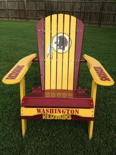Washington Redskins hand painted folding adirondack chair