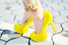 bright yellow pumps