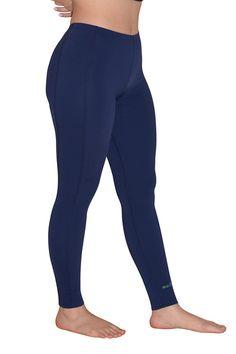 Women Sun Protection Swim Tights Full Legs Length Navy - EcoStinger