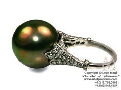 Custom made black pear ring by Leon Mege  http://artofplatinum.com/vault/platinum-pearl-ring