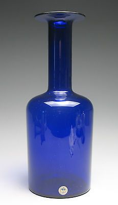 Vintage Holmegaard Gulvvase Cobalt Blue Glass Vase by Otto Brauer 12 Inch
