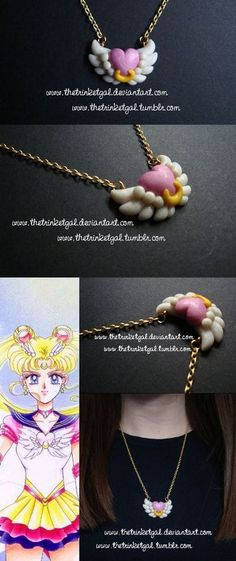 After several unsuccessful 'Fimo days,' I finally managed to craft something cute! Here you are my last 'Sailor Moon' pendant, based on the brooch of Eternal Sailor Moon (manga version). Eternal Sailor Moon is, by far, the worst-looking form of. Polymer Clay Kunst, Polymer Clay Sculptures, Cute Polymer Clay, Cute Clay, Fimo Clay, Polymer Clay Projects, Polymer Clay Charms, Polymer Clay Creations, Sculpture Clay