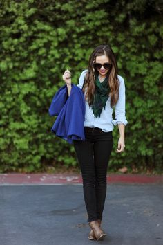 chambray shirt, black jeans, scarf