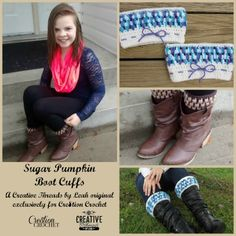 Sugar Pumpkin Boot Cuffs free pattern on Cre8tion Crochet designed by Creative Threads by Leah