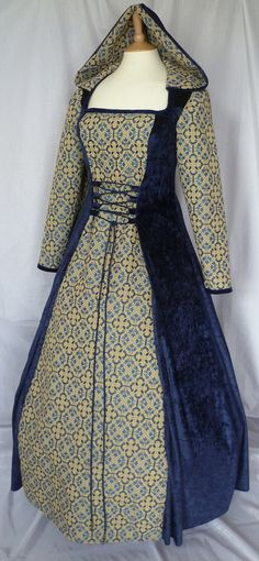 Custom made to size Renaissance hooded gown by DJmedievaldresses